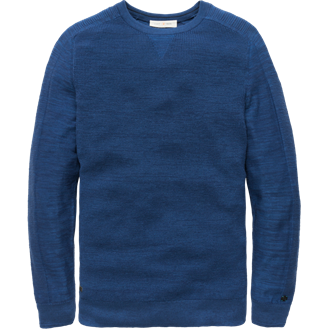 Scotch & Soda Ams Blauw crew neck knit in cotton