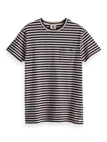 Amsterdams Blauw Ams Blauw stripes tee with chest pr