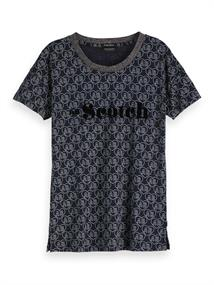 Amsterdams Blauw s/s tee with allover print and ches
