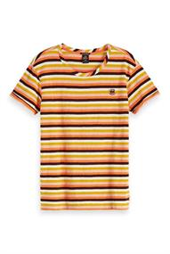 Amsterdams Blauw Striped s/s tee with placement embr