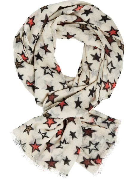 Maison Scotch Boiled wool scarf with printed star