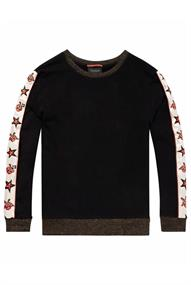 Maison Scotch Crew neck sweat with embroidered wo