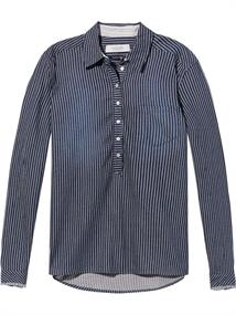 Maison Scotch Drapy indigo shirt with one chest p