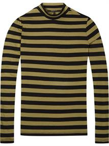 Maison Scotch High neck striped tee with knitted