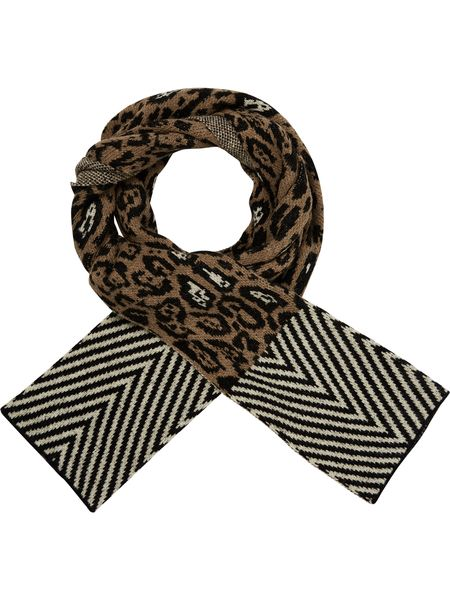 Maison Scotch Knitted scarf in animal & geo patte