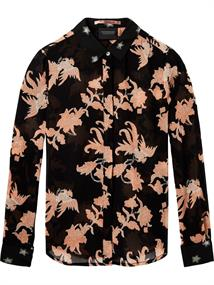 Maison Scotch Mixed print button up top in sheer