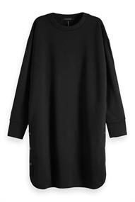 Maison Scotch Neoprene sweat dress with ruffle at