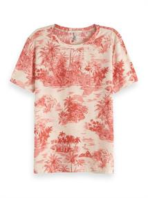 Maison Scotch Printed relaxed fit tee with woven