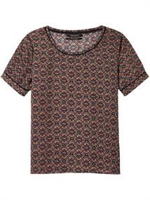 Maison Scotch Short sleeve printed top with ladde