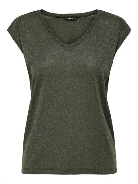 Only onlSILVERY S/S V NECK LUREX TOP JRS