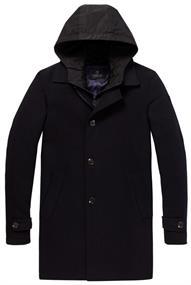 Scotch & Soda Classic wool blend coat with fake i