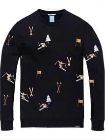 Scotch & Soda Crewneck sweat with all-over ski em