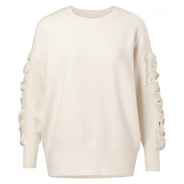 Yaya Round neck knit with sleeve de